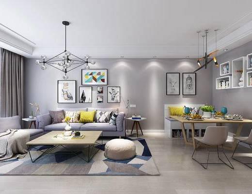 现代客餐厅, 吊灯, 多人沙发, 壁画, 桌子, 椅子, 边几, 沙发凳, 置物架, 现代