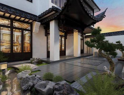 中式, 古建, 庭院, 石头, 植物