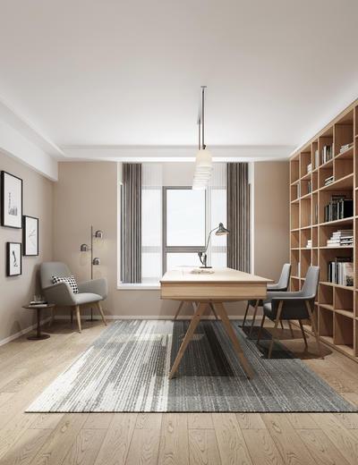 中式书房, 置物柜, 桌子, 椅子, 壁画, 边几, 吊灯, 中式