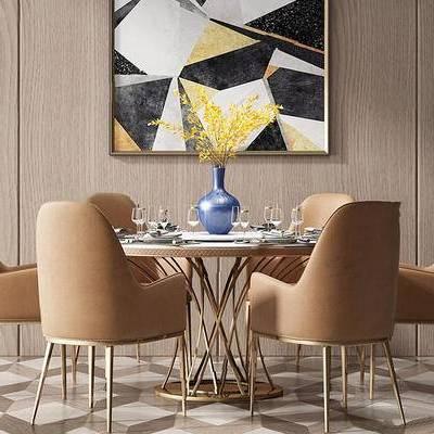 现代简约, 桌椅组合, 花瓶, 餐具组合, 装饰画, 现代, 下得乐3888套模型合辑