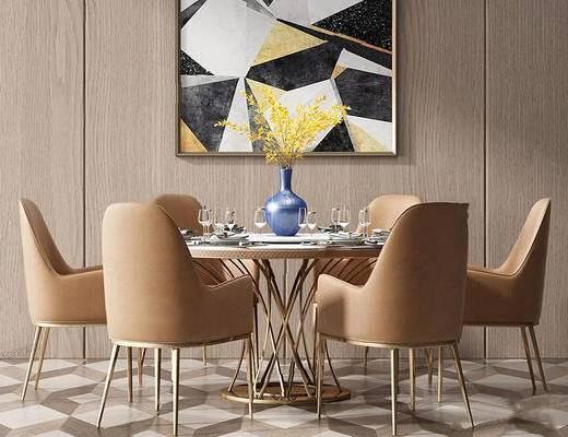 现代简约, 桌椅组合, 花瓶, 餐具组合, 装饰画