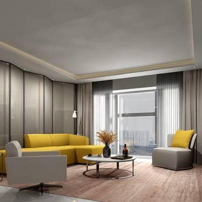 现代客厅, 多人沙发, 茶几, 边几, 电视柜, 椅子, 壁画, 花瓶, 落地灯, 屏风, 现代