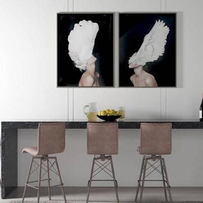 桌椅组合, 吧椅, 吧台, 壁画, 现代