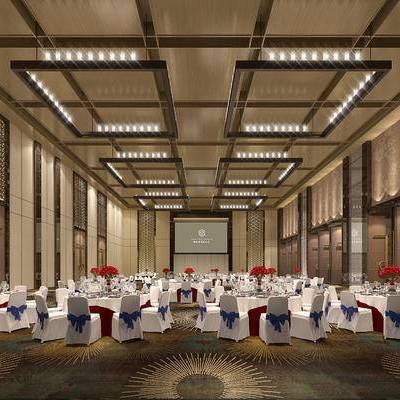 宴会厅, 吊灯, 桌子, 椅子, 花瓶, 现代