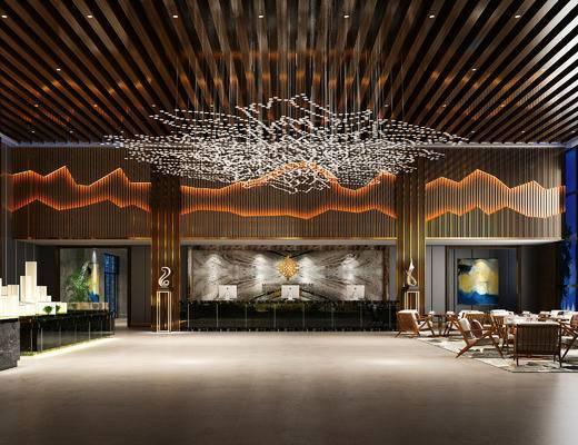 现代售楼部, 前台, 吊灯, 桌子, 椅子, 边几, 沙盘, 现代