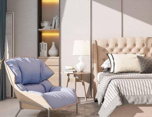双人床, 椅子, 置物柜, 边几, 台灯, 现代