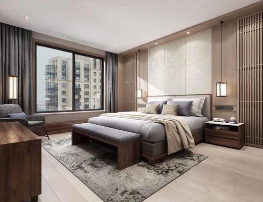 新中式, 卧室, 床具组合, 壁灯, 柜