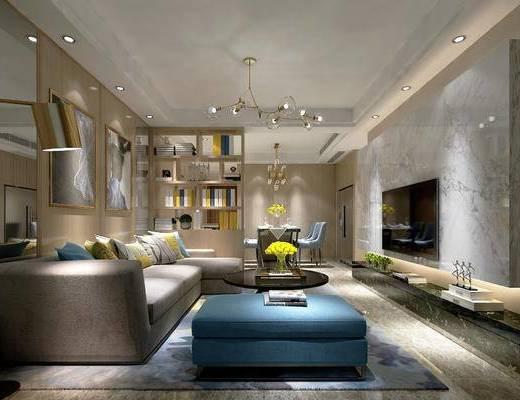 现代, 客厅, 餐厅, 沙发, 茶几, 落地灯, 镜子, 吊灯, 餐桌, 椅子, 置物柜, 摆件, 挂画