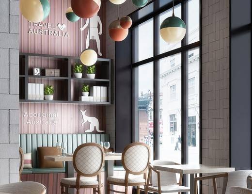 工业风咖啡厅, 餐饮, 桌椅组合, 储物架, 吊灯, 相框, 盆栽, 工业风