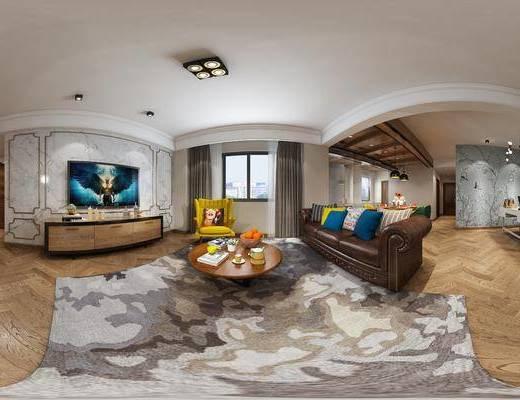 美式客餐厅, 多人沙发, 茶几, 电视柜, 桌子, 椅子, 壁画, 吊灯, 边柜, 美式