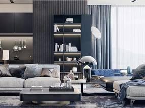 现代客厅, 沙发茶几组合, 茶几, 台灯, 边几, 厨具, 储物架, 地毯, 现代
