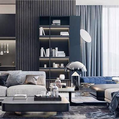 現代客廳, 沙發茶幾組合, 茶幾, 臺燈, 邊幾, 廚具, 儲物架, 地毯, 現代