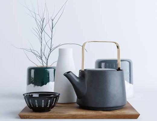 后现代, 摆件, 茶具, 花瓶