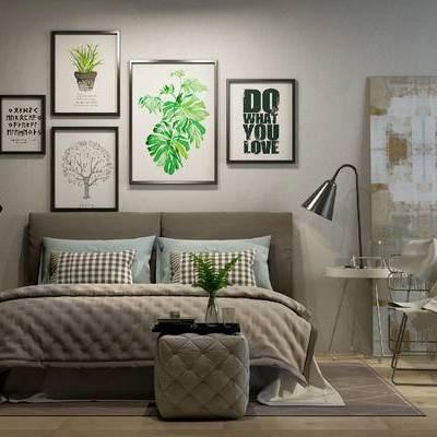 床具组合, 双人床, 台灯, 现代