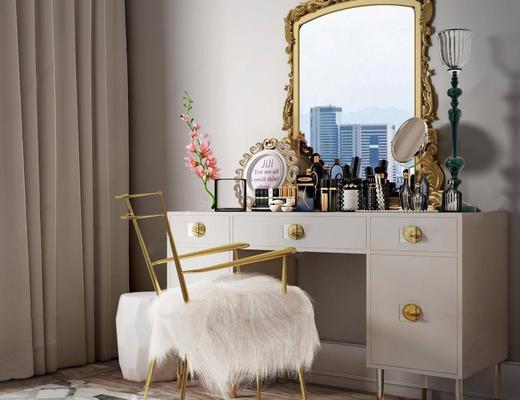 欧式简约, 梳妆台, 日用品组合, 镜子, 化妆品组合