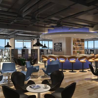 现代咖啡厅, 吧台, 吧椅, 置物柜, 桌子, 椅子, 吊灯, 现代