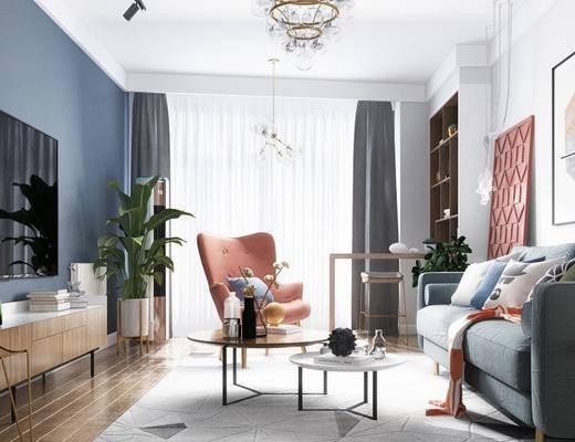 北欧客厅, 沙发, 壁画, 置物柜, 茶几, 边几, 电视柜, 椅子, 吊灯, 盆栽, 地毯, 北欧