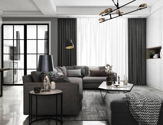 简欧客厅, 沙发组合, 客厅餐厅, 客厅