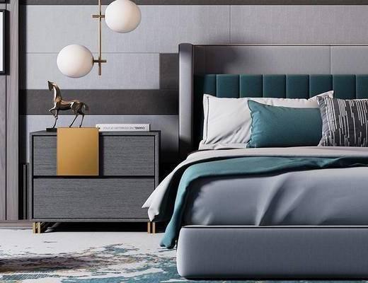 床具组合, 双人床, 床头柜, 吊灯, 壁画, 地毯, 现代