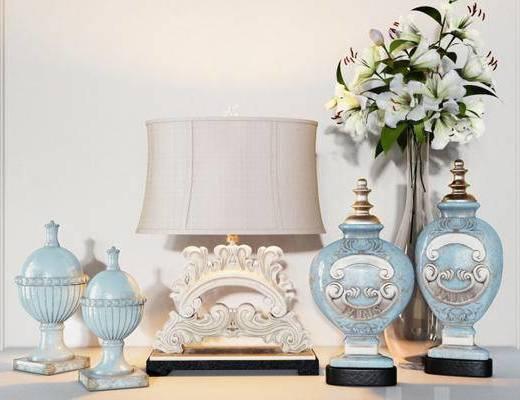欧式简约, 台灯, 瓷器, 陈设品组合, 花瓶