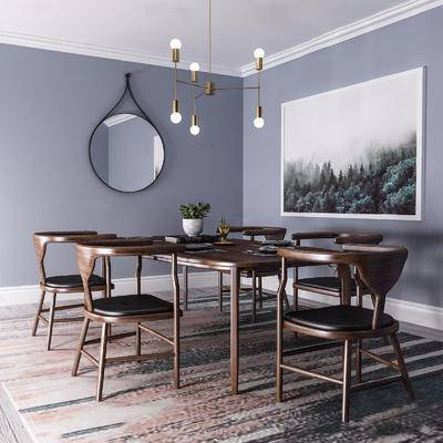 餐厅, 桌椅组合, 吊灯, 装饰镜, 餐具, 现代, 下得乐3888套模型合辑