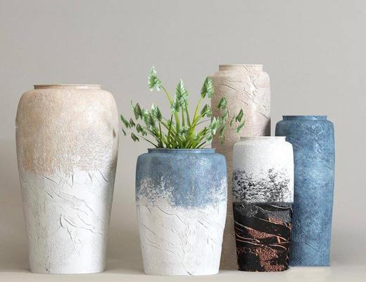 地中海风格, 陶瓷, 摆件, 植物