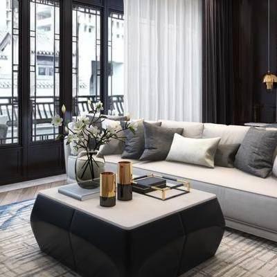 新中式卧室, 双人床, 多人沙发, 茶几, 椅子, 沙发脚踏, 吊灯, 床头柜, 相框, 地毯, 新中式