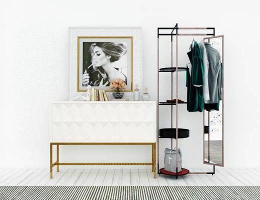 装饰柜, 衣架, 镜子, 现代
