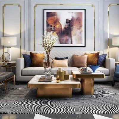 后现代, 客厅, 沙发, 茶几, 台灯, 摆件, 花瓶, 茶具