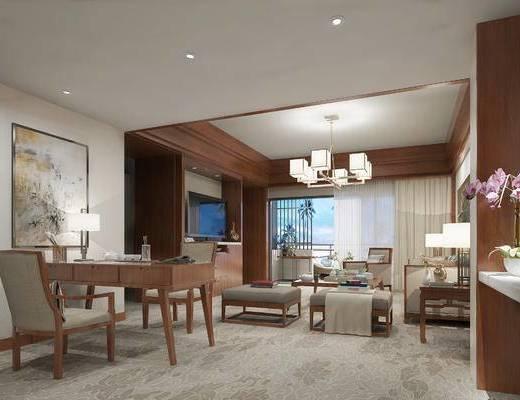 新中式客餐厅, 壁画, 电视柜, 多人沙发, 茶几, 边几, 台灯, 桌子, 椅子, 新中式