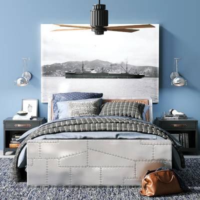 北欧, 边柜, 挂画, 装饰品, 吊灯, 双人床