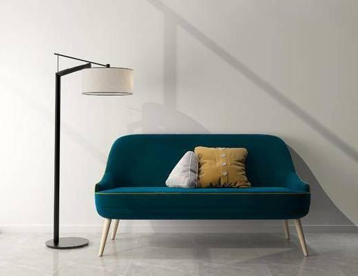 沙发组合, 多人沙发, 落地灯, 北欧
