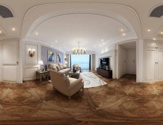 现代客餐厅, 电视柜, 多人沙发, 茶几, 吊灯, 边几, 台灯, 椅子, 壁画, 现代