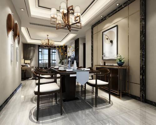 后现代餐厅, 壁画, 桌子, 椅子, 吊灯, 边柜, 后现代