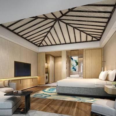 中式客房, 双人床, 壁灯, 椅子, 多人沙发, 壁画, 电视柜, 中式