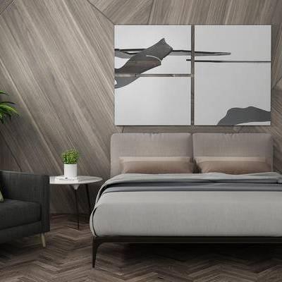 床具组合, 双人床, 壁画, 椅子, 边几, 盆栽, 现代