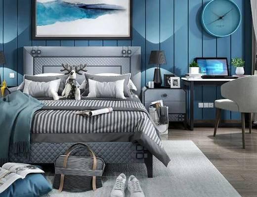 北欧, 卧室, 床, 挂画, 时钟, 书桌, 椅子, 鞋子, 台灯
