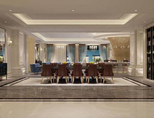 会客区, 桌子, 椅子, 吧台, 吧椅, 吊灯, 多人沙发, 置物柜, 边柜, 壁灯, 欧式
