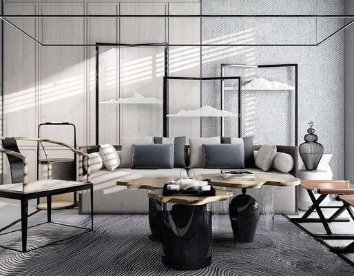 新中式, 沙发, 茶几, 椅子, 茶具, 摆件