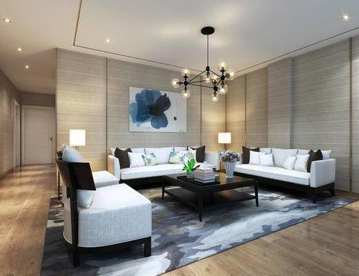 会客区, 吊灯, 多人沙发, 壁画, 茶几, 椅子, 边几, 台灯, 地毯, 现代