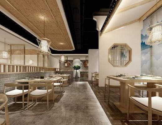 新中式餐厅, 现代餐厅, 餐桌椅组合, 新中式吊灯