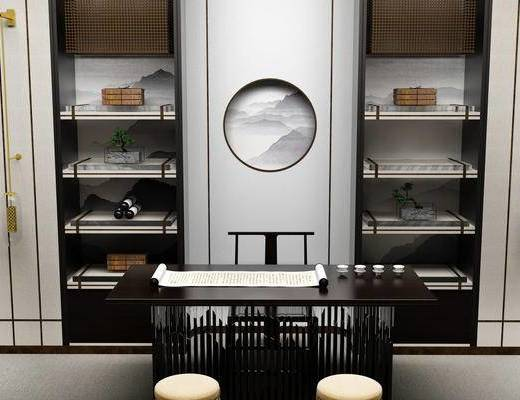 茶室, 桌子, 椅子, 置物柜, 壁画, 壁灯, 中式
