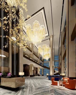 大厅, 前台, 桌子, 椅子, 吊灯, 茶几, 边几, 台灯, 现代