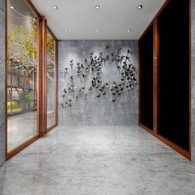 走廊过道, 壁画, 置物柜, 现代