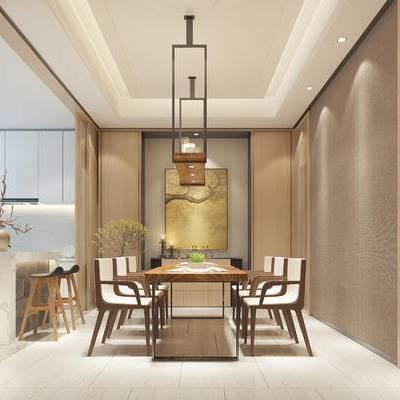 现代餐厅, 吊灯, 桌子, 椅子, 壁画, 吧椅, 橱柜, 花瓶, 现代