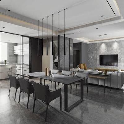 现代, 客厅, 餐厅, 沙发, 茶几, 餐桌, 吊灯, 厨房, 1000套空间酷赠送模型