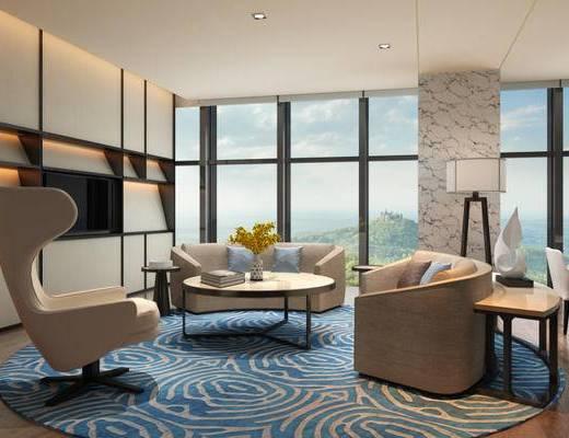 现代, 酒店, 客房, 沙发, 椅子, 落地灯, 花瓶, 书籍