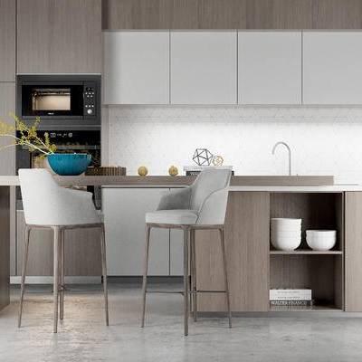 厨房, 橱柜, 吧椅, 吧台, 餐具, 现代