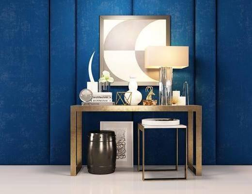 美式, 桌子, 凳子, 台灯, 墙饰, 摆件