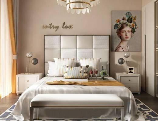 简欧, 卧室, 床具组合, 吊灯, 床头柜